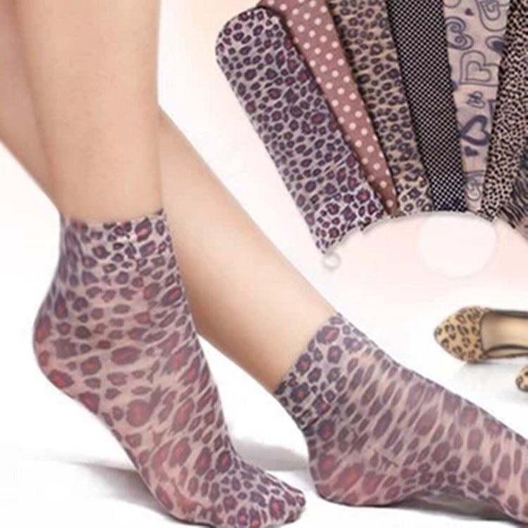 20pcs=10 pairs/lot Women's Fashion   Socks   lady's silk sox woman's soks female woman summer   sock   ladies leopard