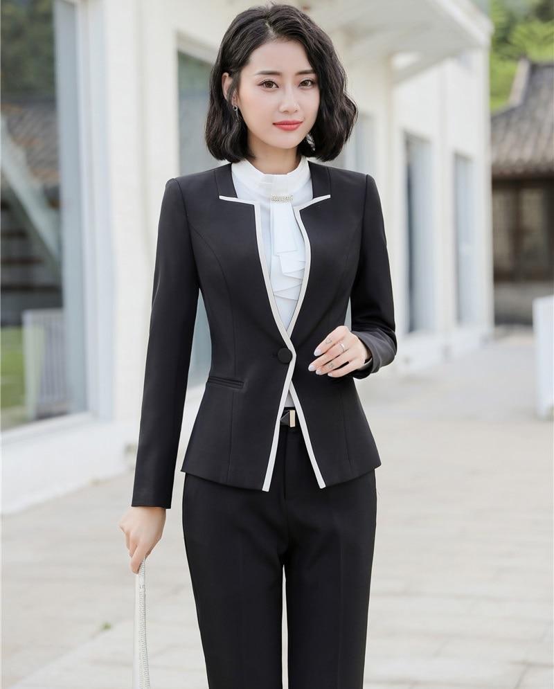 Black Vestes Pantalons Styles Dames Complet Uniforme Blazers D'affaires Avec Work Pour Pantsuits Professionnel Wear grey Et Formel Femmes Ywqf8qa