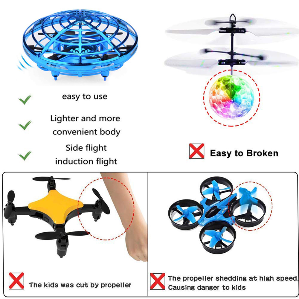 Mini Drone UFO Hand Operated RC Helicopter Quadrocopter Dron Infrared Induction Aircraft Flying Ball Toys For Kids 4