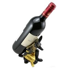 Bottle Wine Holder for Table Top Modern Anubis Art Statue Design Wine Bottle Storage Rack