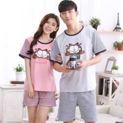 Брендовые хлопковые в полоску Пижамы для девочек пары пижамы Для женщин пижамы Pijama Hombre masculino garfieid печати пижамы Для мужчин пижамы