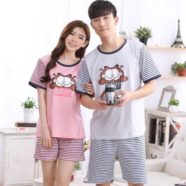 Brand Cotton Striped Pajama Sets Couples Sleepwear Women Pajamas Pijama  hombre Masculino Garfieid Print Pyjamas Men s Pajamas 119d2b006