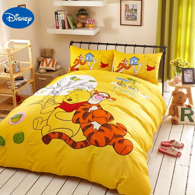 Yellow Disney Cartoon Winnie The Pooh Tigger Bedding Set For Children S Bedroom Decor Cotton Bed Cover