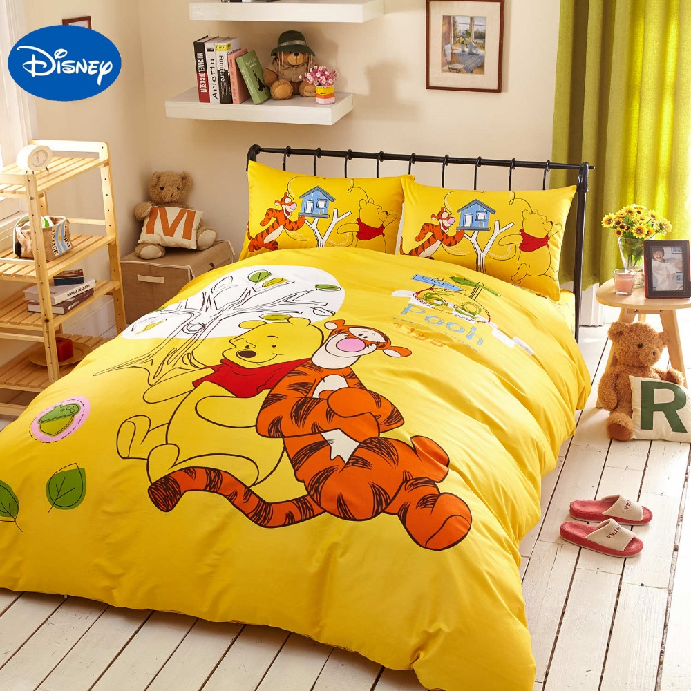 Winnie the pooh toddler bedding - Yellow Disney Cartoon Winnie The Pooh Tigger Bedding Set For Children S Bedroom Decor Cotton Bed Cover Single Twin Queen King Sz