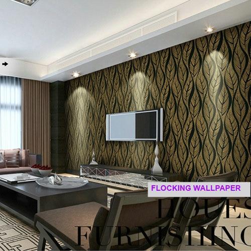 Luxus Samt Beflockung Druck Tapete Moderne Blätter Vlies Tapeten Tapeten TV Wand  Dekoration Wandbild Tapete