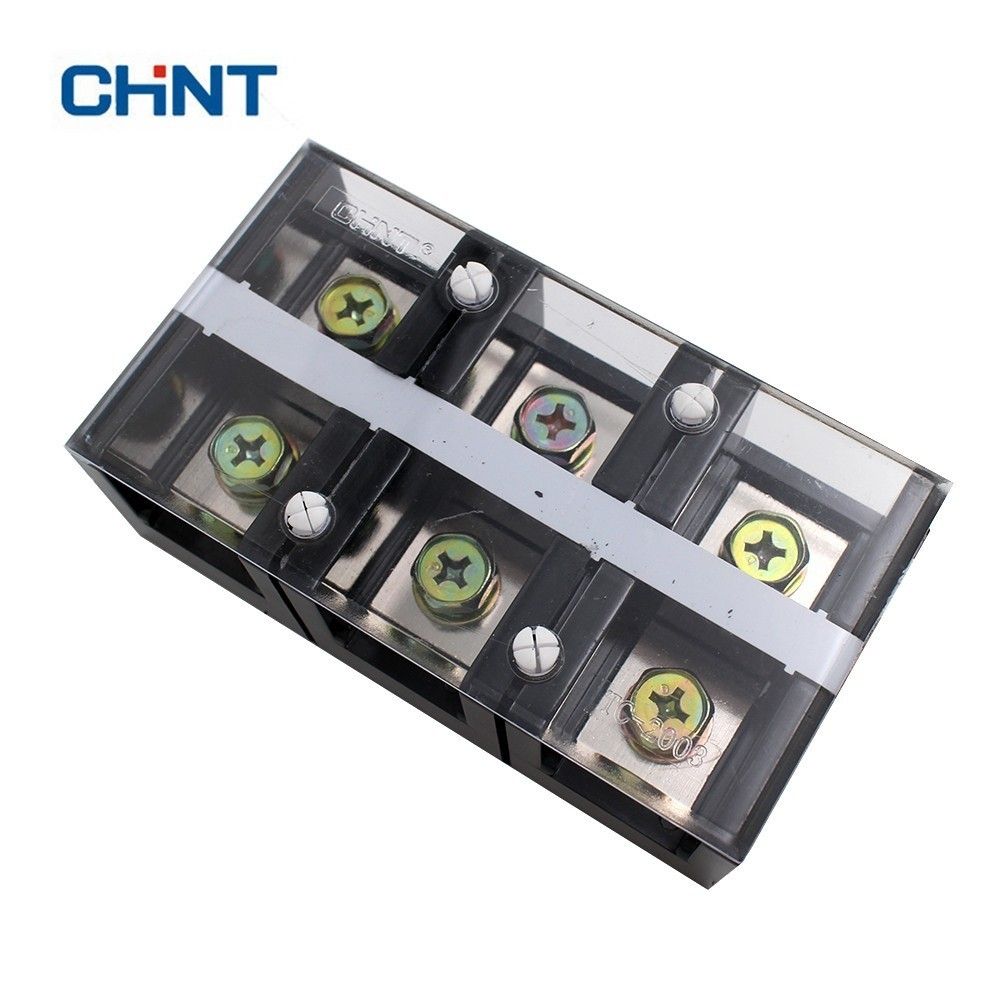 CHNT TC-2003 Fixed Type High Electric Current Connection Dual Row Screw Terminal Block Strip 200A 3P Copper Sheet esd safe 75w soldering handpiece t245a solder iron handle for di3000 intelligent soldering station