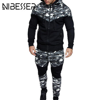2018 New Camouflage Printed Men Set Causal Patchwork Jacket Men 2Pcs Tracksuit Sportswear Hoodies Sweatshirt Pants Jogger Suit 1
