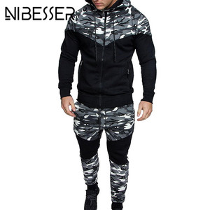 Image 2 - 2020 New Camouflage Printed Men Set Causal Patchwork Jacket Men 2Pcs Tracksuit Sportswear Hoodies Sweatshirt Pants Suit