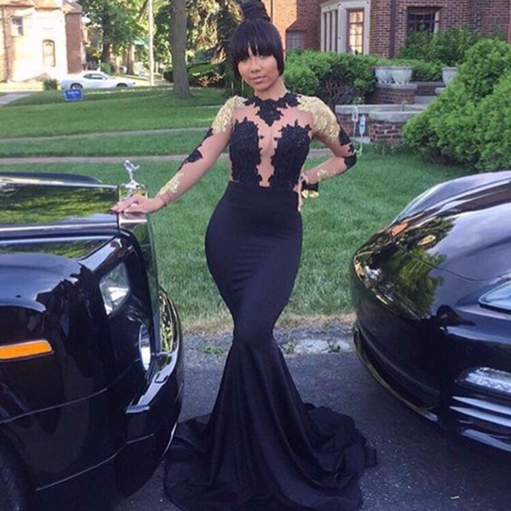 ec386439b31 New African Black and Gold Mermaid Prom Dresses 2018 High Neck Satin Sexy  See Through Open Back Long Sleeve Prom Evening Gown