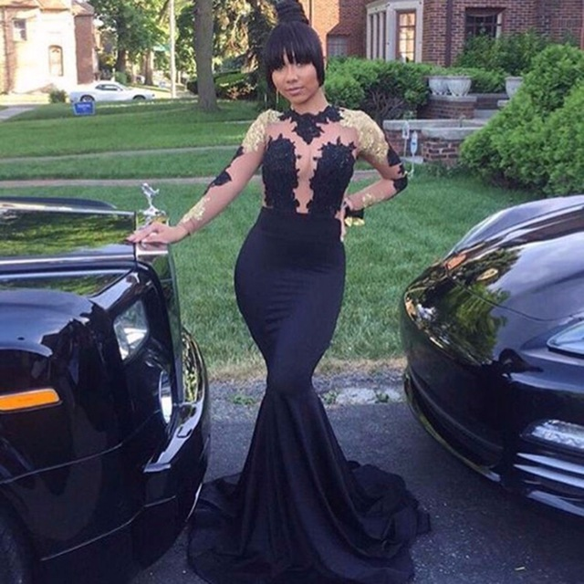 725222fae8f New African Black and Gold Mermaid Prom Dresses 2018 High Neck Satin Sexy  See Through Open Back Long Sleeve Prom Evening Gown