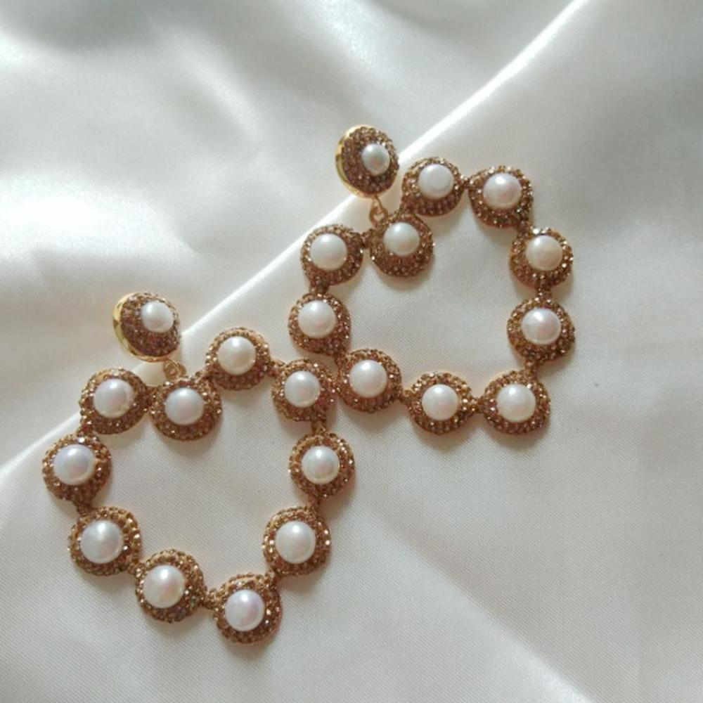5 Paris Nature Pearl Heart Dangle Earrings Women Gold Rehinestone Fashion Statement Jewelry Wedding Earring Brincos