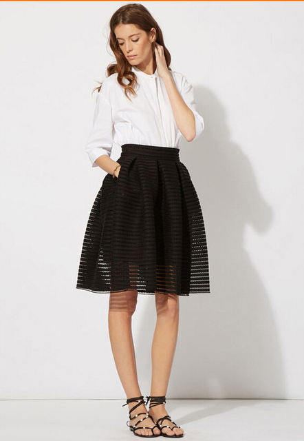 26604cefeb 2015 New Maje Skirt Openwork Knit Summer Style Hollow Out Ball Gown Skirt  White Black Pleat Tutu Tulle Skirt zw