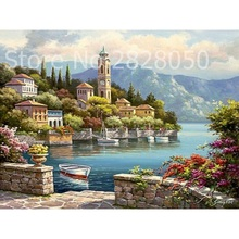 Small Town Landscape Painting By Numbers Home Decor DIY Canvas Oil Painting Wall Art Home Decor for Living Room 40*50cm(China)