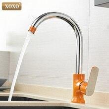 Xoxo torneira da cozinha de bronze água fria e quente único punho 360 graus rotação misturadora Tap20021 1