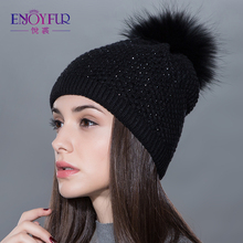 Winter fur hat for Women real wool knitted  fluffy pompom caps 2017 new arrival casual fashional beanines with top quality