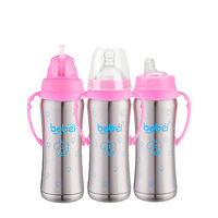 Baby Stainless Steel Feeding Bottle Wide caliber 240ml Heat Preservation Nipple,Straw and Sippy Cup Screw 3 in 1 Bobei Elephant