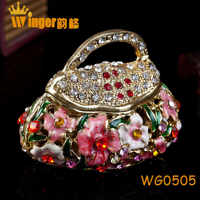 Wholesale Hollow Flower Jewelry Trinket Box with a Handle DIY