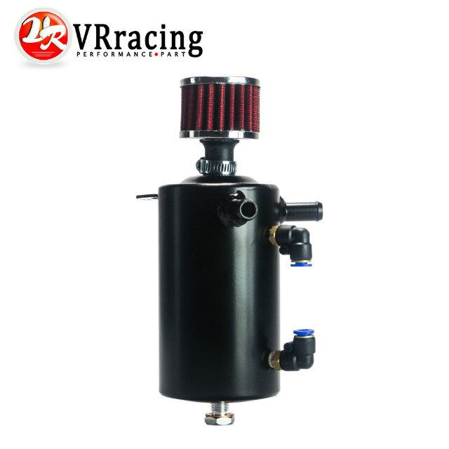 VR RACING - UNIVERSAL BREATHER TANK&OIL CATCH CAN TANK WITH BREATHER FILTER ,0.5L VR-TK10BK gtb racing baja metal air filter oil tank cover