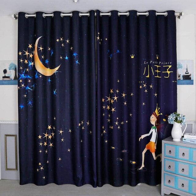 Cortinas de ventana con arandela 2x hechas a medida, cortinas para niños,  cuarto tocador 200 cm x 260 Prince Moon las estrellas
