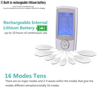 Massage Muscle Stimulator Electronic Pulse Massager With 16 Modes And 8 Pads Portable Smart Electro Pain