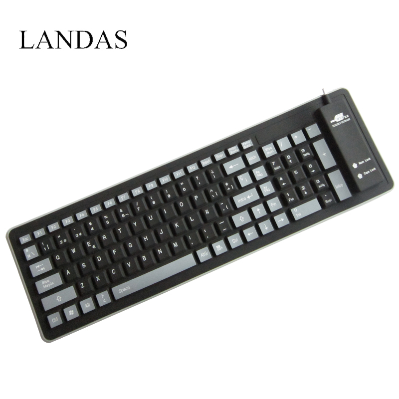 цена Landas USB Wired Silicone Spanish French Keyboard For Laptop Notebook Rolled Waterproof Silicone Keyboard Spanish for Desktop PC