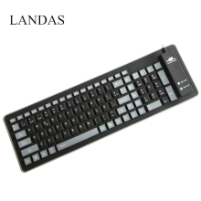 Landas USB Wired Silicone Spanish French Keyboard For Laptop Notebook Rolled Waterproof for Desktop PC