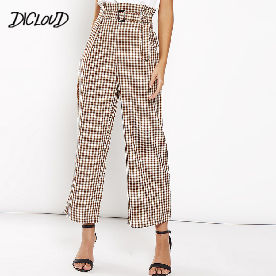 DICLOUD 2018 Fashion High Waist Trousers Woman Casual Loose Printed Plaid Wide Leg   Pants   Ladies Office Sexy Plus Size   Capris