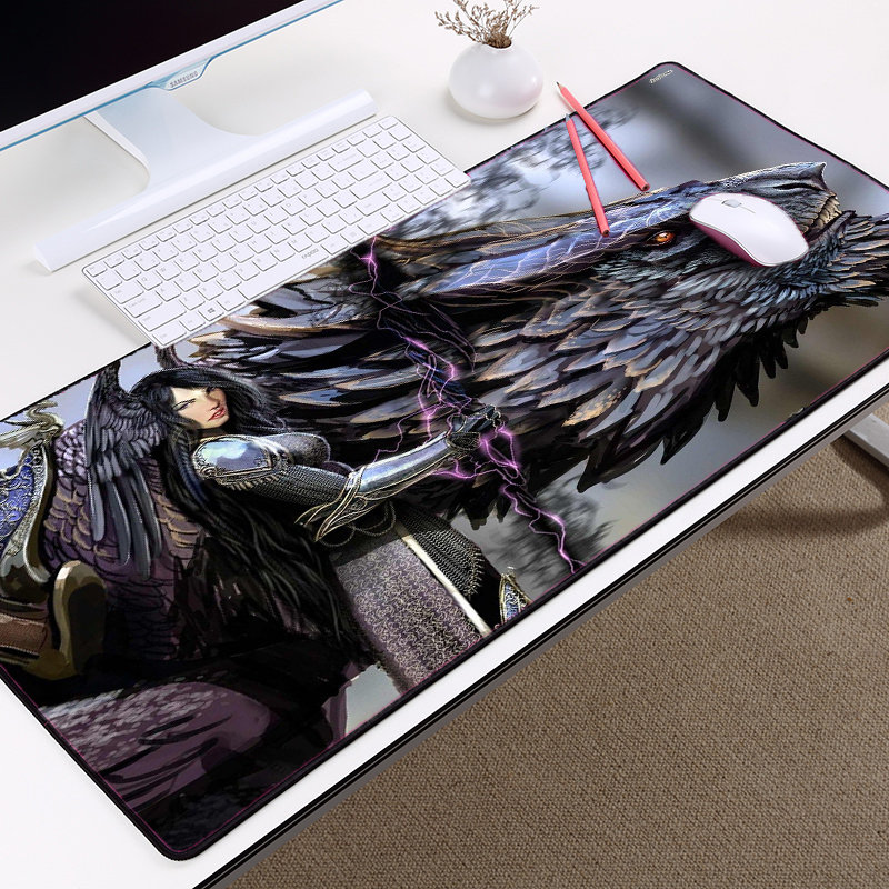 Congsipad Creative Dragon and Women Big Size Table Mat Mousepad Geming Game Player Pc Keyboard Soft Desk Mat for LOL CSGO Dota2