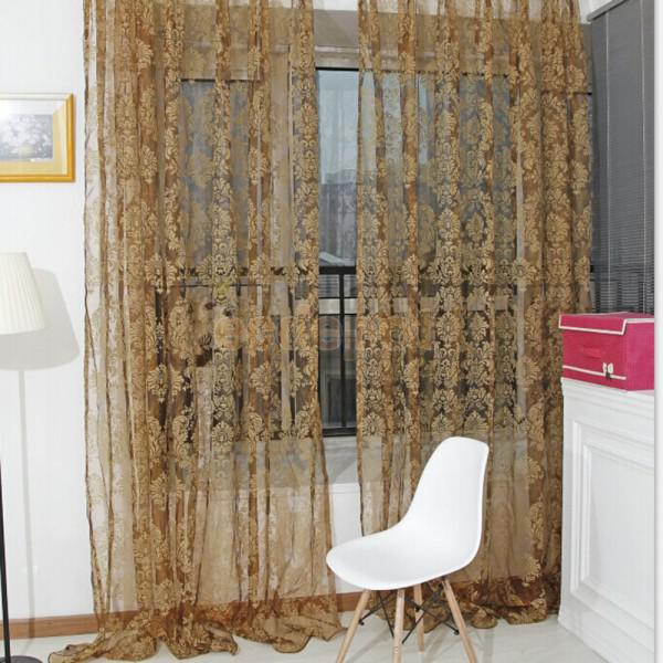 retro flocked floral voile door window curtain panel sheer tulle drape - Door Panel Curtains
