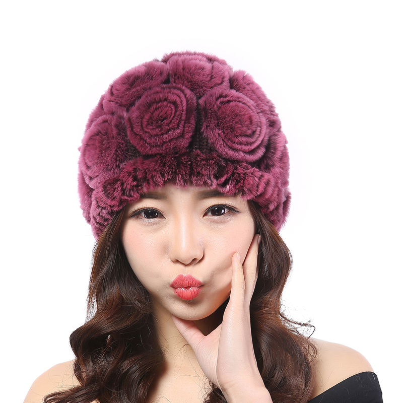 Handmade Women's Fashion Natural Knitted Rex Rabbit Fur Hats Female Genuine Winter Women Fur Caps Lady Headgear Beanies THO2A