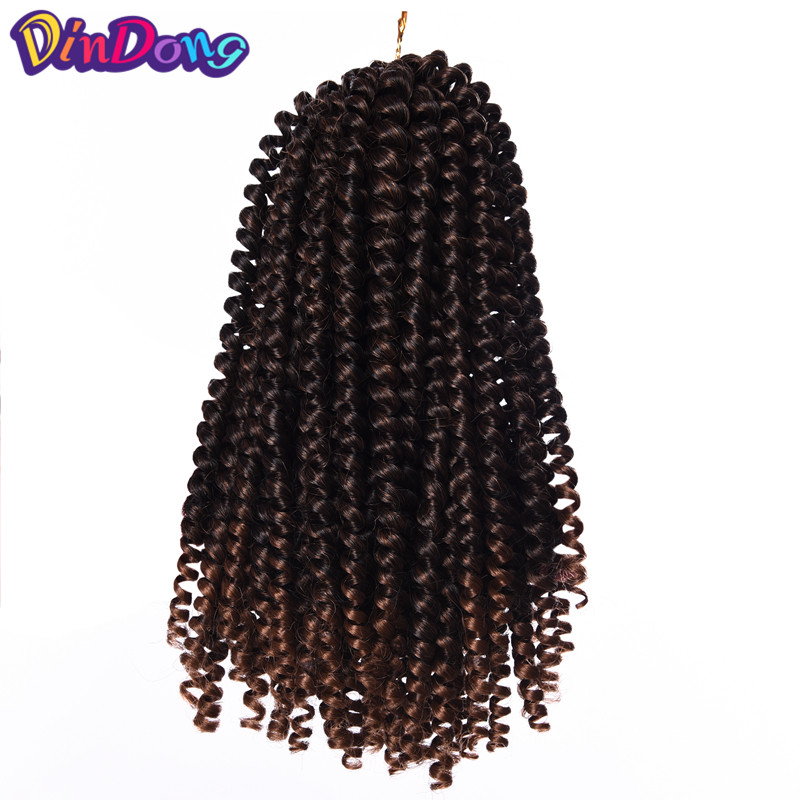 DinDong 8Crochet Hair Extensions Ombre Synthetic Kanekalon Fiber Braiding Hair 30roots B ...