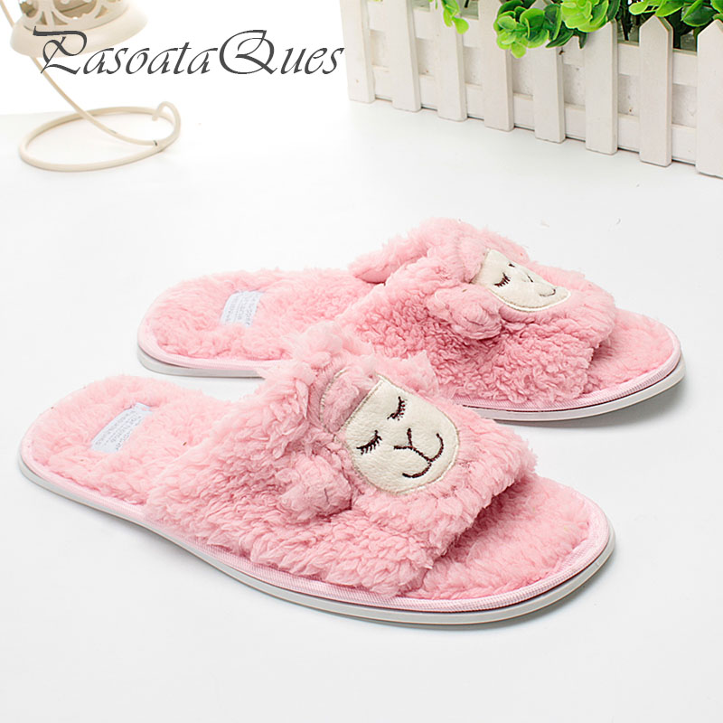 Cotton Cute Animal Pattern Home Shoes Women Indoor Slippers Bedroom House Spring Summer Soft Bottom Flats plush winter slippers indoor animal emoji furry house home with fur flip flops women fluffy rihanna slides fenty shoes
