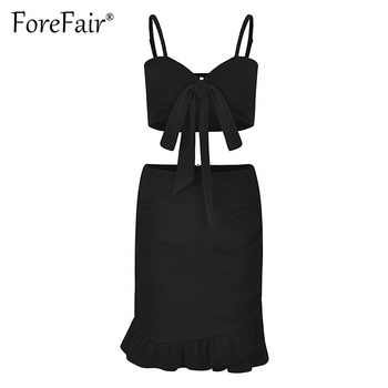 Forefair Red 2 Piece Set Women Summer Skirt Suits Sexy Backless Bow Knot Camisole Vest Bra Crop Top And Ruffles Hem Skirt Sets 4