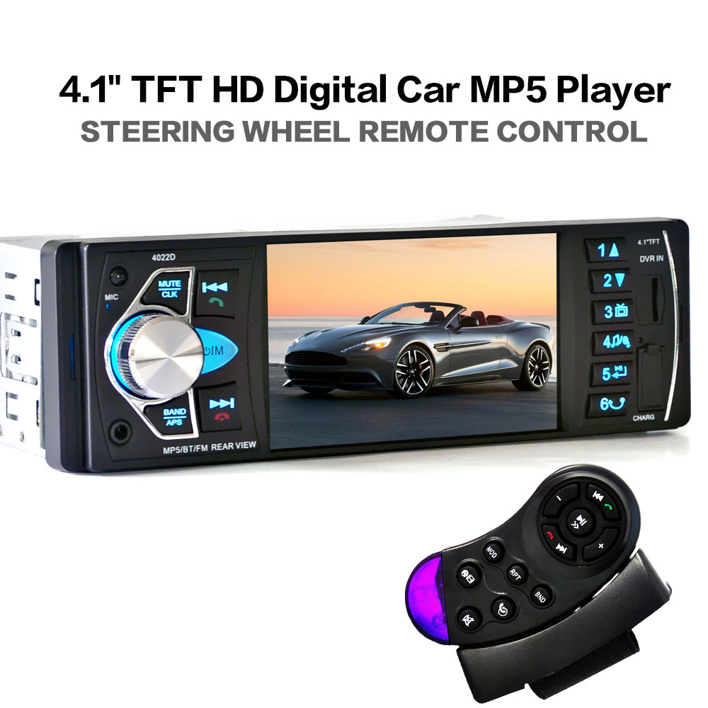 Car MP5 Player 12V Car Vedio Radio 4 Inch HDTFT Screen Bluetooth/Stereo FM Radio/MP4/MP5/Audio/Video/USB/SD/TFT+Steering Wheel