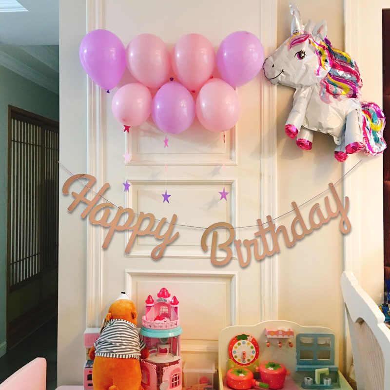 Cartel tipo guirnalda de feliz cumpleaños, banderines con láser de oro rosa y plata, banderines colgantes, banderines, banderines para fiesta de cumpleaños, baby shower
