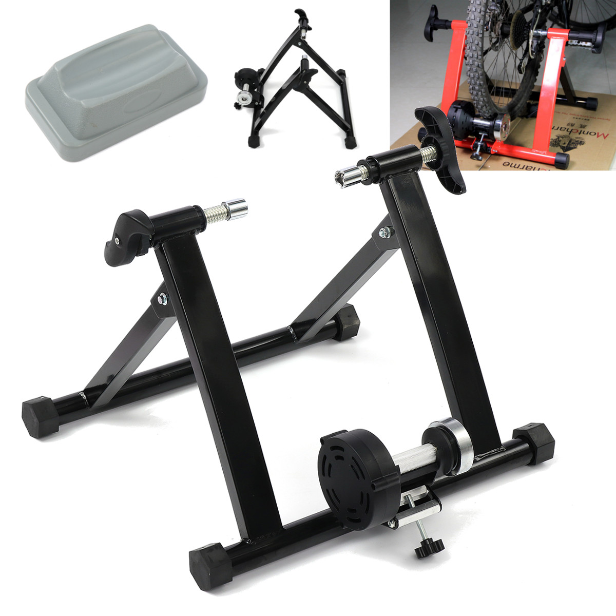 Bike Trainer Stand Magnetic Resistance Bicycle Exercise Workout Black