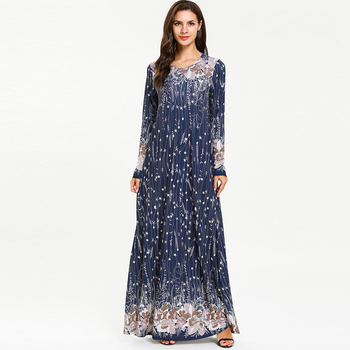 Robe Bleue musulmane Nature femmes Mode