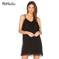 RIchLuLu V-Neck Ruffles Patchwork Sleeveless Dress Women Clothing Sexy Off Shoulder Vestidos De Festa Hollow Out Mini Dress