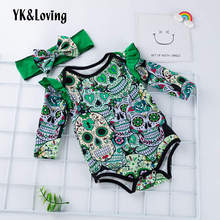 hot deal buy yk&loving halloween green baby rompers boy girl clothing sets newborn cotton warm spring autumn comfort baby rompers suits