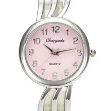 Elegant Women Hollow Cuff Stainless Steel Bracelet Watches Female Ladies Casual
