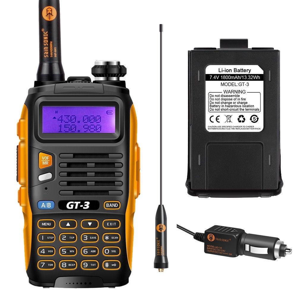 Baofeng GT-3 Mark II Radio bidirectionnelle double bande UHF/VHF 136-174/400-520 MHz portable avec antenne à Gain élevé de 23 CM et chargeur de voiture