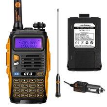Baofeng gt-3 mark ii двусторонней радиосвязи dual band uhf/vhf 136-174/400-520 мГц ручной с 23 см высоким коэффициентом усиления антенны и автомобильное зарядное устройство