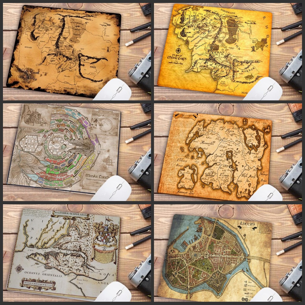 Mairuige Big Promotion Top Quality Cool The Lord Of The Rings Map Customized Laptop Gaming Small Mouse Pad Size For 18cmx22cm