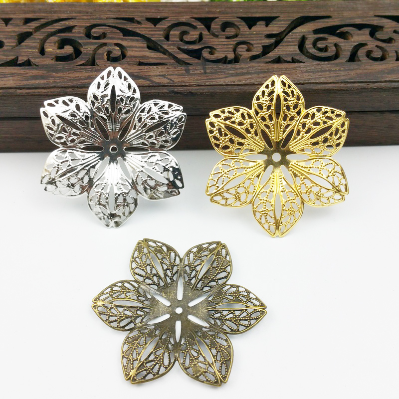 20pcs 43mm Filigree  Flower Wraps Metal Charms For Embellishment Scrapbook DIY Jewelry Craft  Wraps Connectors Metal Crafts