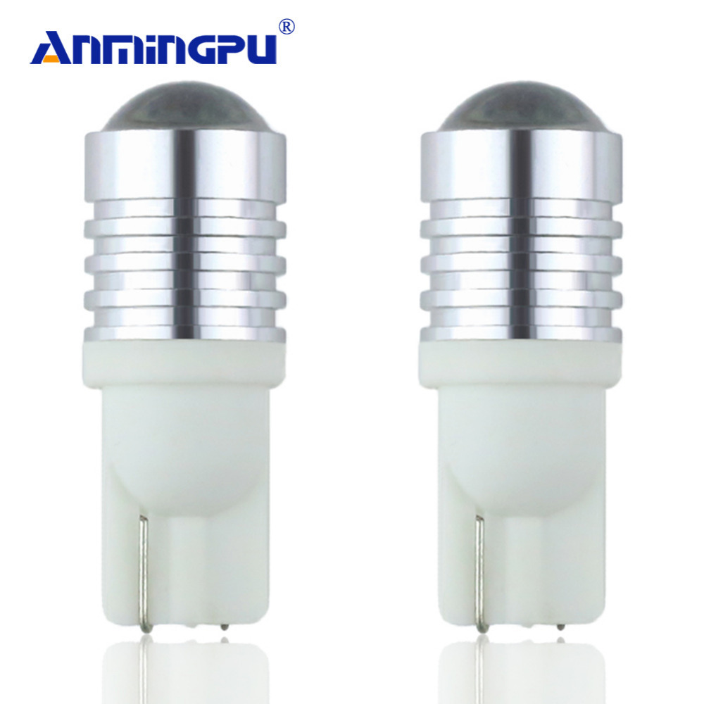 ANMINGPU Signal Lights 2x T10 W5W Led Bulb With Cree Chips 12V 6000k T10 Led Lamps Bulbs for Cars Clearance Lights Interior Lamp high powered 6000k 18lm led vehicle signal lights 2 pack 12v t8 white