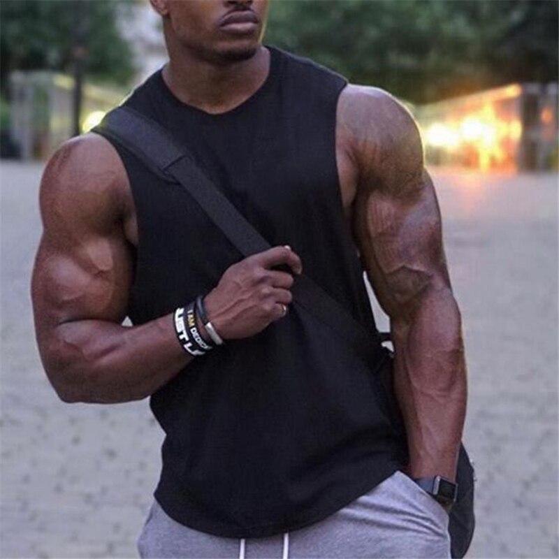 New Blank Sleeveless shirt Mens Workout Shirt Bodybuilding Stringer   Tank     Top   Man Fitness Clothing cotton Muscle vest