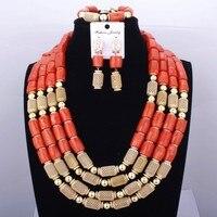 High Quality Ladies Jewelry Necklace Bangle Jewelry Set Design Original Coral Orange India African Wedding Jewelry Set 2017