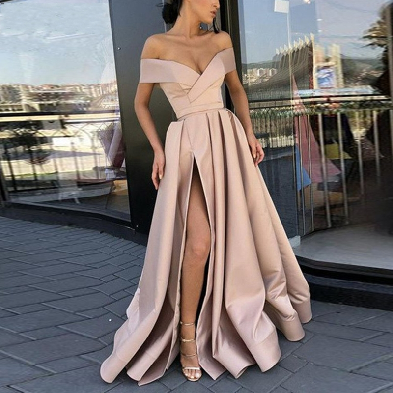 Elegant Off the Shoulder Champagne Prom Gown Satin Sexy Evening Dress High Slit Formal Party Gowns 2019 Long vestido fiesta