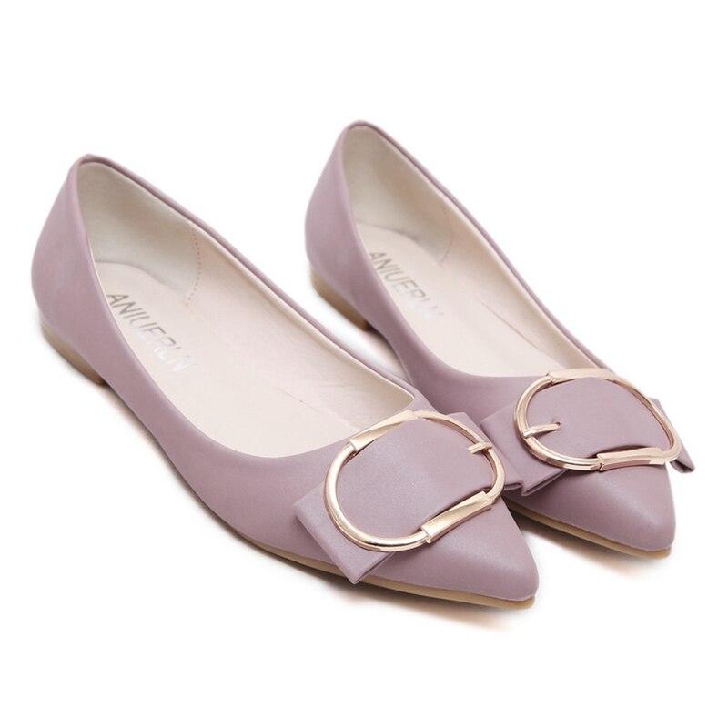 Negro Nuevos verde Femenino Zapatos rosado De Metal Boca gris Señaló Suaves Salvajes Mujeres Inferiores Planos Las Baja Hebilla 1w16qWCr