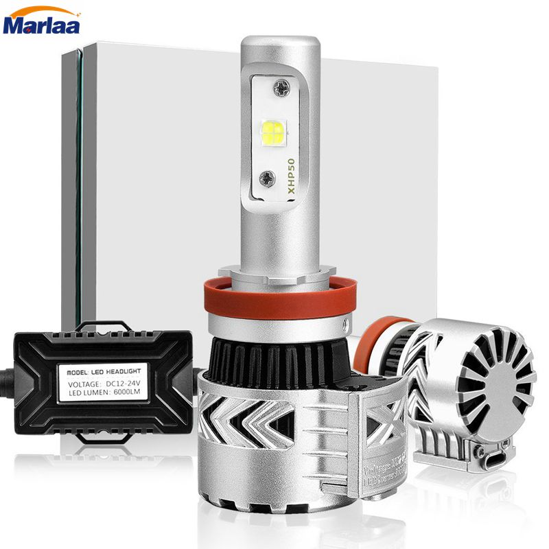H11 LED Headlight Bulb H8 H9 CREE XHP50 Chip 360 degreen Adjustable Beam Pattern Conversion Kit 72W 6000K 6000Lm